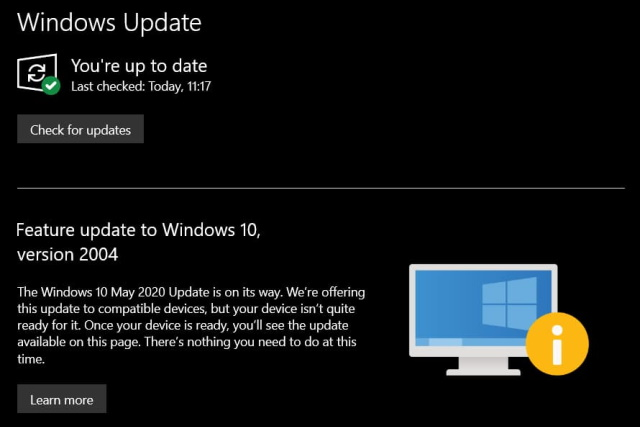 Windows 10 May 2020 Update isn't quite ready