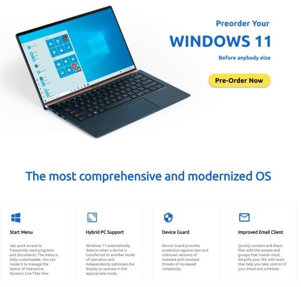Vorbestellseite für Windows 11