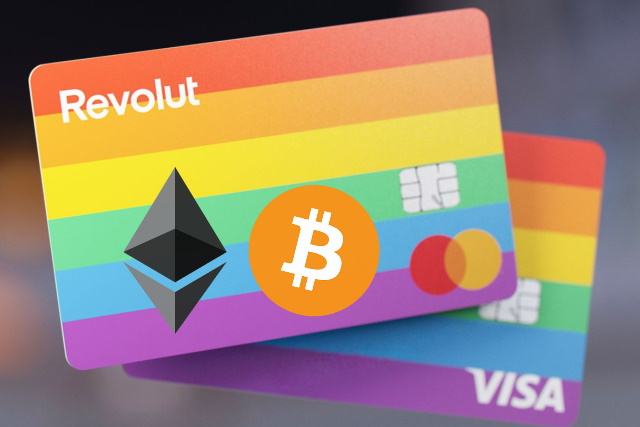 Rainbow Revolut card with cryptocurrency logos