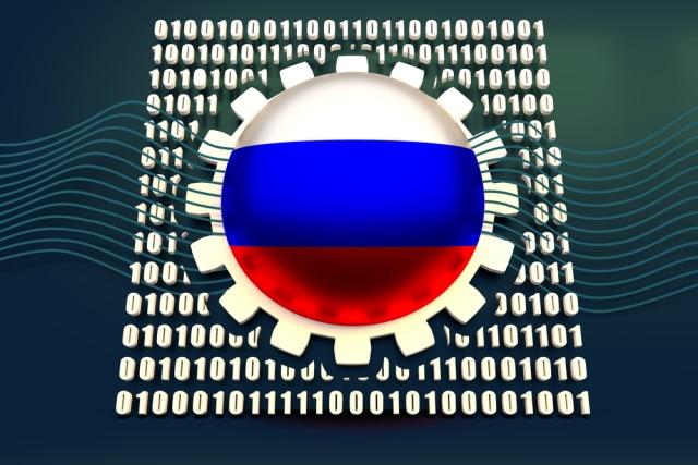Russische Flagge auf einem binären Hintergrund
