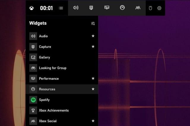 Xbox Game Bar resources widget