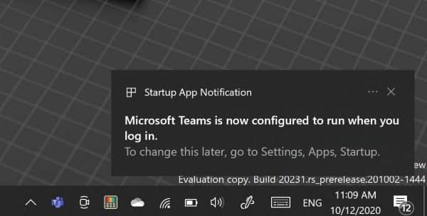 Startup app notification in Windows 10