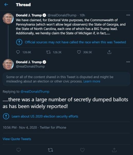 Trump election 2020 tweets