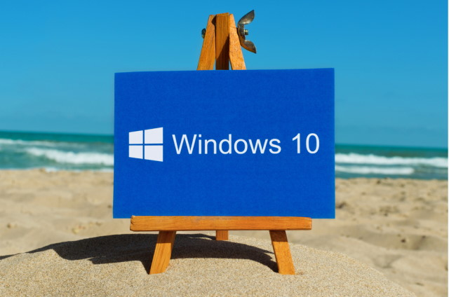 Windows 10 logo on a beach