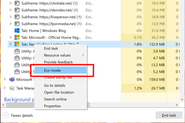 Windows 10 Task Manager Eco mode