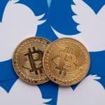 Twitter logo and Bitcoin
