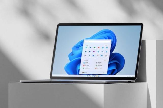 Windows 11 laptop on a pedestal