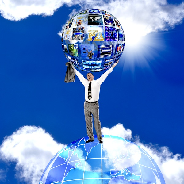 man globe cloud