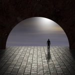 man stand stnding alone tunnel