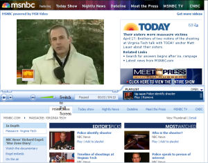 An MSNBC.com video playing perfectly well inside the WMP 11 Plug-in for Firefox.