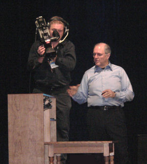 Microsoft chief research and strategy officer Craig Mundie demonstrating an early Surface form factor.
