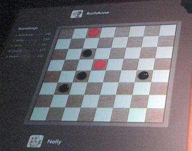 The Surface tabletop can recognize the shape and weight of checkers as opposed to fingertips.