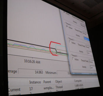 A CPU Performance Monitor heuristic in Vista shows where a period of increased CPU stress bumps the Media Player thread priority up high.
