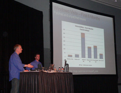 Microsoft's security marketer Jeff Jones presents the six-month vulnerability slide at TechEd 2007.