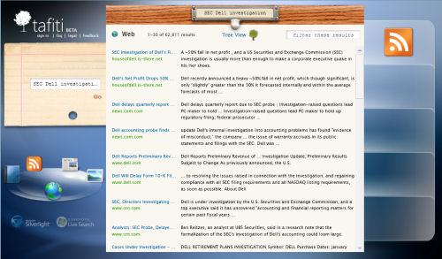 Microsoft's Tafiti search beta in Web results view