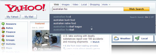 Snapshot of Yahoo Search with 'Search Assist' enabled