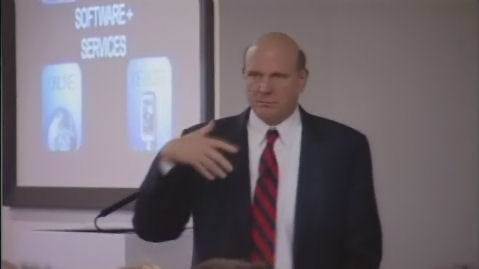 Microsoft CEO Steve Ballmer presenting to associates on the company's UK campus, October 2007