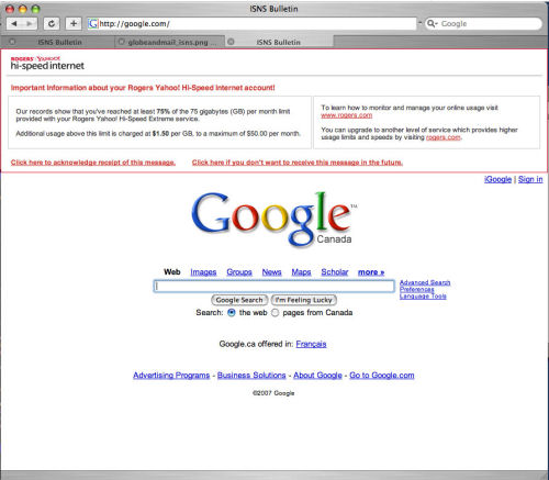 We interrupt this Google for a message from Rogers Yahoo ISP...literally, along the top of Google's home page.