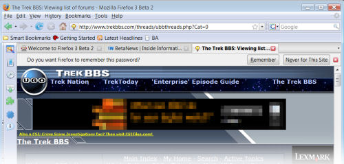 The new way to save one's validated password in Firefox 3.0, from the Beta 2 release.