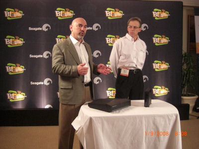 A demonstration of XStreamHD's ability to sit quietly on a table top, from a Wednesday event in partnership with Seagate.