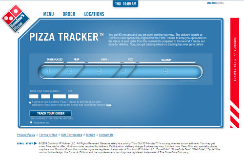 The home page for Domino's high-tech pizza tracker