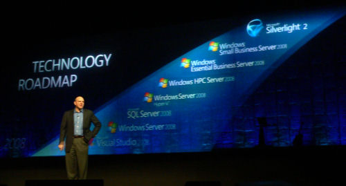 Microsoft CEO Steve Ballmer in front of a projection of what's supposed to be the future, some of which he admitted to be 'an inventory of what Microsoft has shown thus far.'