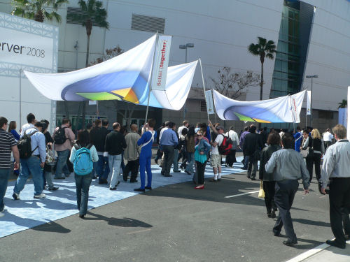 Herding attendees between the Nokia Theater and the LA Convention Center