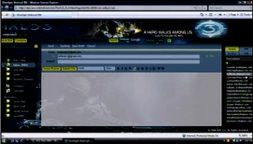 AOL Mail using Silverlight 2 Beta 1 and a Halo 3 motif, with mail composition open.