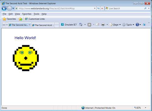Internet Explorer 8 on Windows Vista running the Acid2 test.