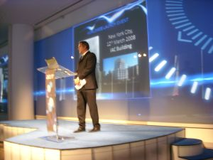 Acer President Gianfranco Lanci, speaking at a press conference to unveil the new Acer Gemstone notebook computers, March 12, 2008.