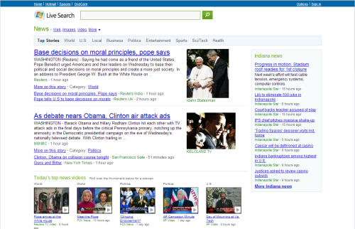The front page of Microsoft's Live Search News at 1:00 pm EDT on its inaugural day.