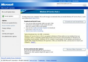 windows xp sp3 shows up as a principal choice on microsoft s