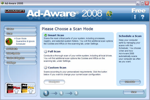 Ad-Aware's Free 2008 edition, here seen in Windows XP SP3