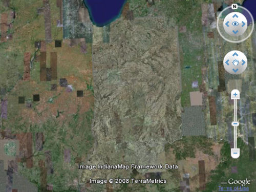 The writer's home state appears strangely glazed in the latest scan from Google Earth.