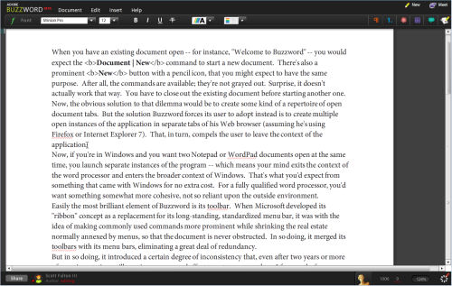 The main composition screen in Buzzword, Adobe's latest beta of its online word processor, from June 2008.