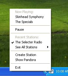 Pandora running in system tray