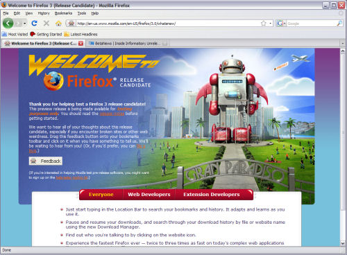 A screenshot from Firefox 3.0 RC2 running in Windows XP SP3