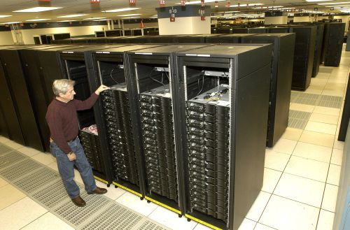 The Roadrunner supercomputer at Los Alamos National Laboratories, the first to break the petaflop processing barrier.