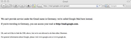 A page depicting what German users attempting to access 'gmail.de' are treated to.