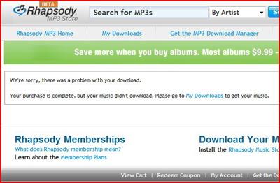 Rhapsody .ZIP download failure