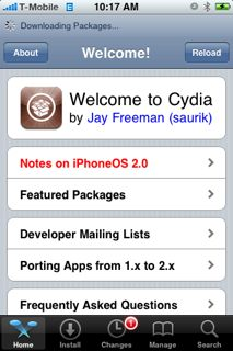 Cydia on iPhone