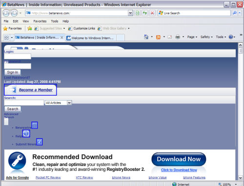 BetaNews rendered (badly) in IE8 Beta 2 with 'Compatibility Mode' turned off