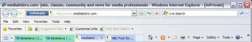 IE8 Beta 2's new tab bar, which enables color-coding of related tabs.  Note InPrivate browsing is active here.