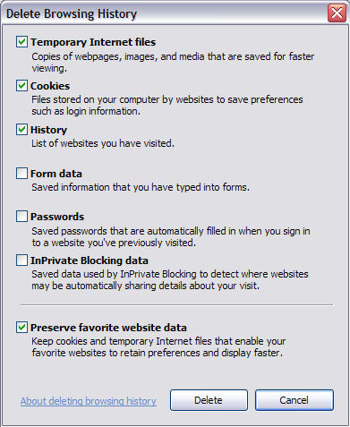 The new Delete Browsing History options dialog in Internet Explorer 8 Beta 2