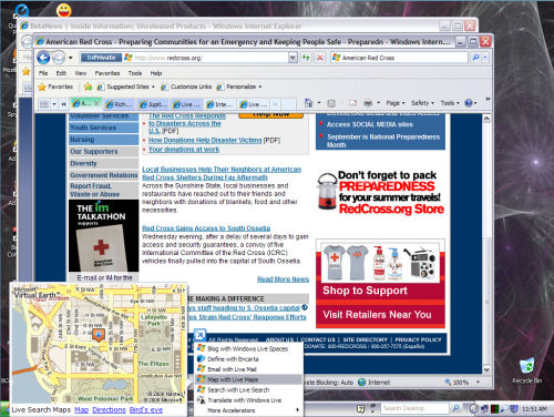 An example of a map accelerator in IE8 Beta 2