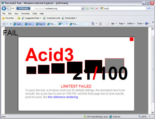 Not a very good score from IE8 Beta 2 on the Acid 3 test