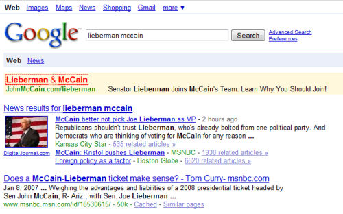 Google ad appearing to show McCain   Lieberman choice