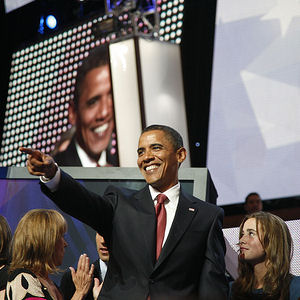 Sen. Barack Obama makes an appearance at the Democratic National Convention August 27, 2008.