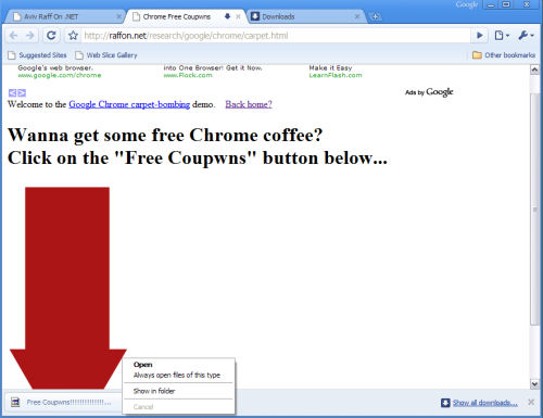 A proof-of-concept exploit in Google Chrome is about to trigger the launch of Notepad.