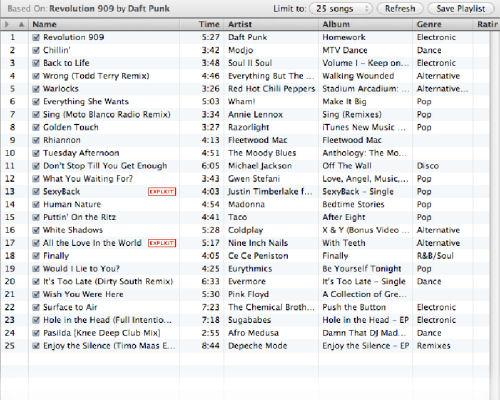 Screenshot from iTunes 8.0 Genius (3 of 4)